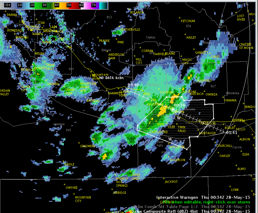 Radar view of line of thunderstorms approaching Jerome and Twin Falls. Image time 634pm MDT. #idwx http://t.co/gdbqsSYs86