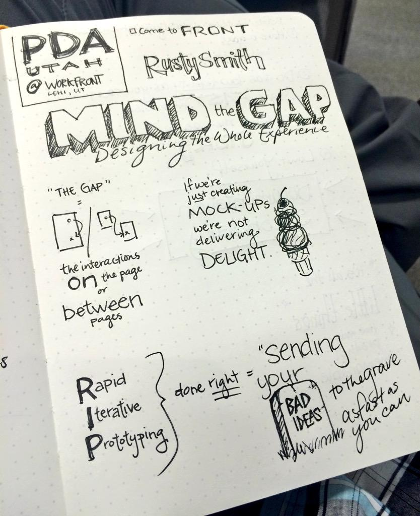 """Mind the Gap"" of what happens between your static mockups.  @RustyJay #ux #sketchnotes, @PDAUtah #meetup http://t.co/HOb5iyCh2A"