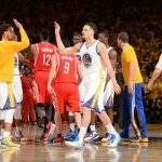 Klay Thompson has huge 2nd quarter with 15 Pts. Warriors lead Rockets at halftime of Game 5, 52-46.