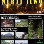 #jogja @TlatahBocah 30-31/5/15 20.00-10.00 Merti jiwo (Kenduri UmbulDonga dll) di dsn Keningar. Dukun | Free http://t.co/MJd6VgO7KT