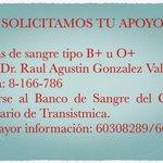 #Panama: se necesitan 6 unidades de sangre +info 60308289 🙏✨ http://t.co/HndTIKLEtV