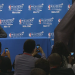 Riley Curry is playing hide and seek at her dads postgame news conference. Can you find her? http://t.co/W2RhYGcicl