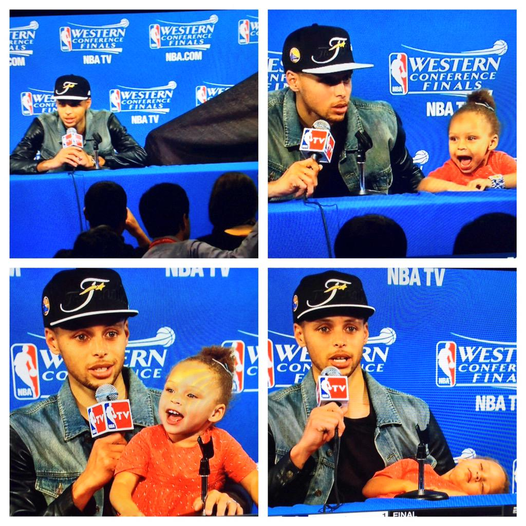 Back by popular demand ... the adorable #RileyCurry. @StephenCurry30 's daughter in the post game interview. http://t.co/JVF09RCiFL