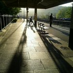 Bath Spa station looking mellow in the morning sun. Where shall we go today? @NOWBath @beautifulbath @weloveBath http://t.co/r5C98lL4oT