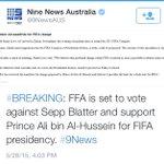 عاجل: الاتحاد الاسترالي سيصوت لصالح #الامير_علي_للفيفا وضد بلاتر #AliForFIFA http://t.co/bOJ3MfvaRq