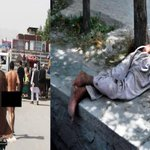 The man who was walking naked around the streets of Kabul, badly beaten by people. #Afghanistan http://t.co/pqPM6V4A7z