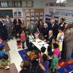 .@GregAbbott_TX surrounded by kids and lawmakers as he signs #hb4 the preK bill #txlege #txed http://t.co/gS6WFxP1z3