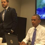 With @POTUS and @Deese44 at the National Hurricane Center in Miami for the Presidents Twitter Q/A. #AskPOTUS http://t.co/LEtPfre8qr