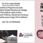 Sintoniza mañana a las 17:30 Hidalgo Radio 98.1FM #SomoLaSalle #ProfesionalesConValor http://t.co/zMsCiTN3P0
