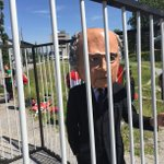 Anti FIFA protesters put Blatter behind bars outside Congress Centre in Zurich #SSNHQ http://t.co/VJ4xasNeFE
