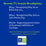 Yesterdays Senate resolution on marriage carries same weight as Salad Day & John Wayne Day. Lets move on. #txlege http://t.co/EgDbuhNirq