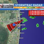 A few fast-moving, brief, showers are moving toward the West Palm Beach area, should last 5 to 10 minutes @cbs12 http://t.co/36p9yLuFZl