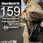 At least 159 children recruited as child soldiers in #Yemen since March 26. #ChildrenNotSoldiers @UNICEF_Yemen http://t.co/B32LvwWwkq