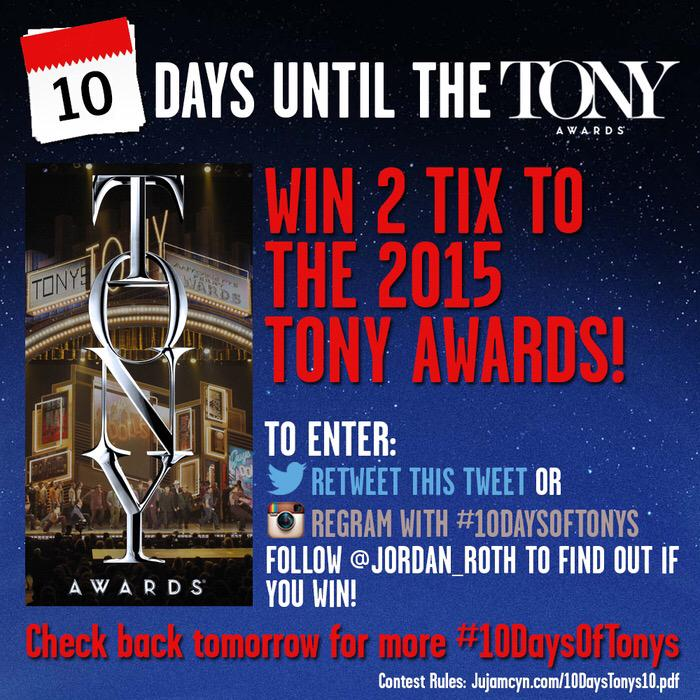 Want to come to the TONYS?! Retweet now to enter to win 2 tix! The #10DaysOfTonys Contest is on! http://t.co/Otxgtc7St0