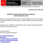 #COMUNICADO: Gobierno peruano confirma captura de #MBL a través de un comunicado de la PCM. http://t.co/FEKIp5qBcp