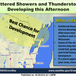 Showers and thunderstorms developing over the north/northeast. Keep an eye to the sky! #wiwx http://t.co/Z3pkARKofC