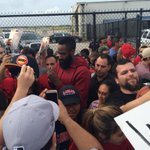 .@JHarden13 greeting @HoustonRockets fans as they arrive back in Houston. http://t.co/op0MvFH8h4
