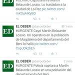 Policía Boliviana capturó a Martín Belaunde. Medios bolivianos dan a conocer la noticia. http://t.co/EBhAZNDSgd