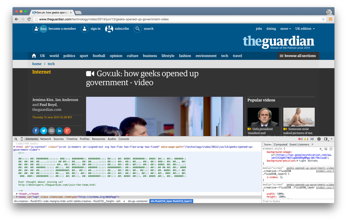<!DOCTYPE html><!— WE ARE HIRING> Well played @guardian, well played. http://t.co/EedwtulgUr