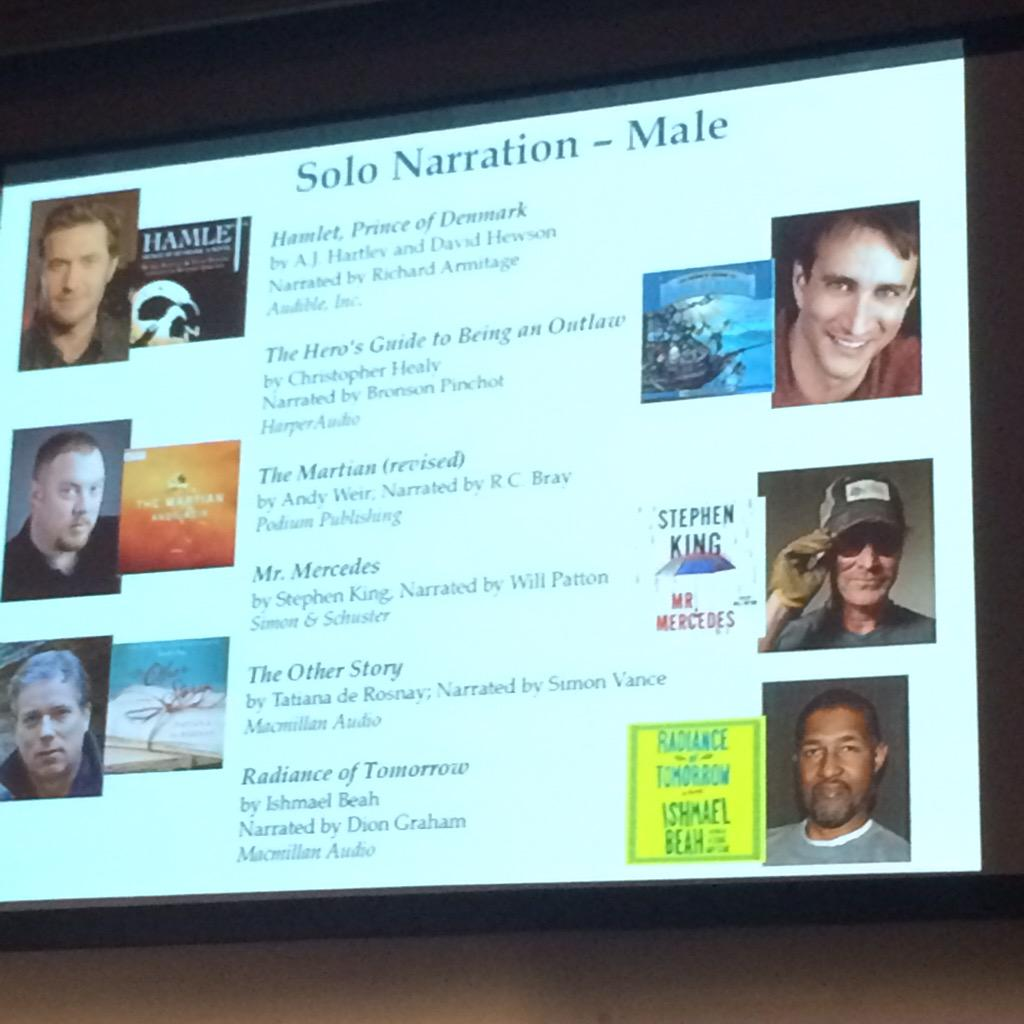 And now, the nominees for Solo Narration - Male. #Audies2015 http://t.co/Nr9Wvnz3m0
