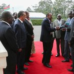 H.E. @UKenyatta with former S. Sudan political detainees, IGAD & Arusha peace talks reps at State House today. http://t.co/TuBM6Hy9Zj