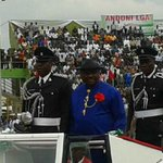 Governor Nyesom Wike arrives for #Inauguration2015 at #PortHarcourt Liberation Stadium. http://t.co/LzUVaFC3BR