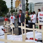 A protest about workers deaths in Qatar outside the Congress. #fifa http://t.co/C70dYuUj3Q
