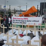 Protest over treatment of migrant workers in Qatar ahead of 2022 World Cup, as reported on extensively by Guardian. http://t.co/ju5PEgVtCM