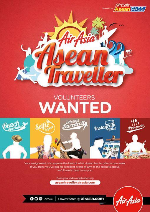 AirAsia mencari Volunteer AirAsia Asean Traveller! Kirimkan video ke siapa tahu beruntung!