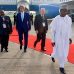 RT @JohnKerry Glad to be back in #Nigeria & honored to be leading delegation for inauguration of Pres-elect @MBuhari. http://t.co/Gfinr8RaMD