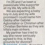 CLASSIC: An Aston Villa fan has written into Dear Deidre. http://t.co/QurafyEAb0