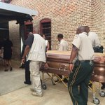 Casket bearing the body of #BBKing brought in to #BBKing museum for public viewing #Indianola Mississippi. http://t.co/7ygB0xp7ka
