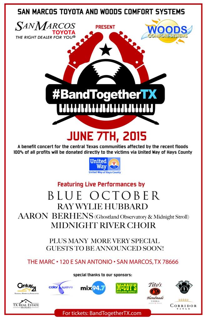 #BandTogetherTX going live. Please help us help our neighbors in need. http://t.co/Hi36Pl4YOF