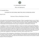 Breaking: U.S. formally removes Cuba from its list of state sponsors of terrorism http://t.co/wCEyiAfDcw