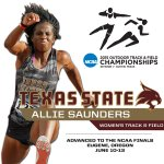 Congrats to @TXStateTrack Allie Saunders who advanced to @NCAA finals in Oregon in June. http://t.co/CPLLy4T9CL