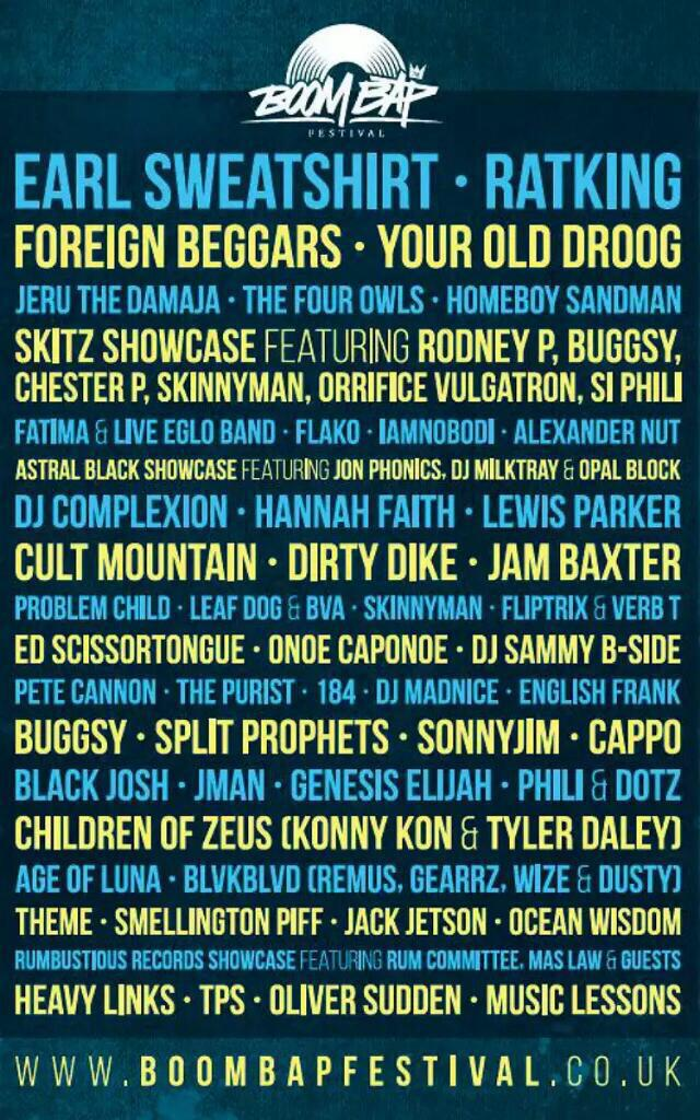 One week to go @BoomBapUK with @RKPPromo @Bugnum1 @ChesterP_TF @skinnymanmudfam @mcleafdog @MCPRofit @ForeignBeggars http://t.co/vvCdDLMpfb