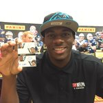 RT @PaniniAmerica The @Panthers @D_FUNCH holding up his Pen Pals auto #NFLPARookiePremiere http://t.co/wJa3DARRSf