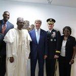 President Muhammadu Buhari, @MBuhari, with @JohnKerry and other US envoys after the inauguration. #DemocracyDay http://t.co/kVCVU6xFVf