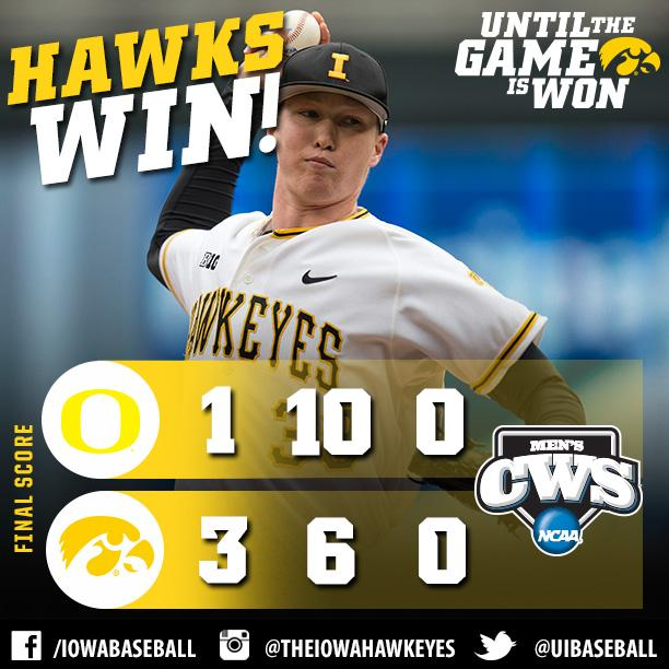 #Hawkeyes WIN 1st NCAA game in 43 years!  #Hellerball #RoadToOmaha #1Down http://t.co/z3dlAwzskW
