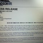 Windsor PD linking fatal shooting of bicyclist on May 18 to earlier shooting of a motorist at Harmony Rd & I-25. http://t.co/1FMHBY5b6i