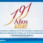 1/3 ¡Forma parte de los 191 años de Provincialización del Azuay! Si tienes un evento a realizarse en junio, http://t.co/PfACBtD3SM