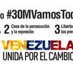 Este #30MVamosTodos a exigir libertad para los presos políticos y fecha de #Parlamentarias2015 ¡Cuento con ustedes! http://t.co/EJ5FjsodNR