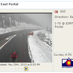 Still Winter in the mountains - Latest pic from E Portal of Eisenhower Tunnel. Snow will decrease by 10 PM. #COwx http://t.co/VXnjEwT2B6