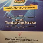 Special Thanksgiving Service for Fmr President Goodluck Jonathan, Yenagoa, May 30. #CountyourBlessings http://t.co/xlI5hQhTn2