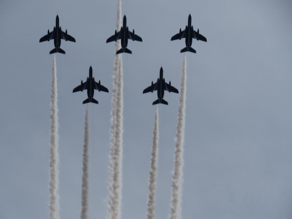 鳥だす、飛行機だす、いや、ブルーインパルスだす!! かっこいがったぁ~ http://t.co/kmyOgFpAzK