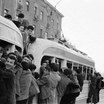 A packed Tbilisi tram in the 1960s. Photo by Guram Tikanadze. http://t.co/anjp5OrjiB