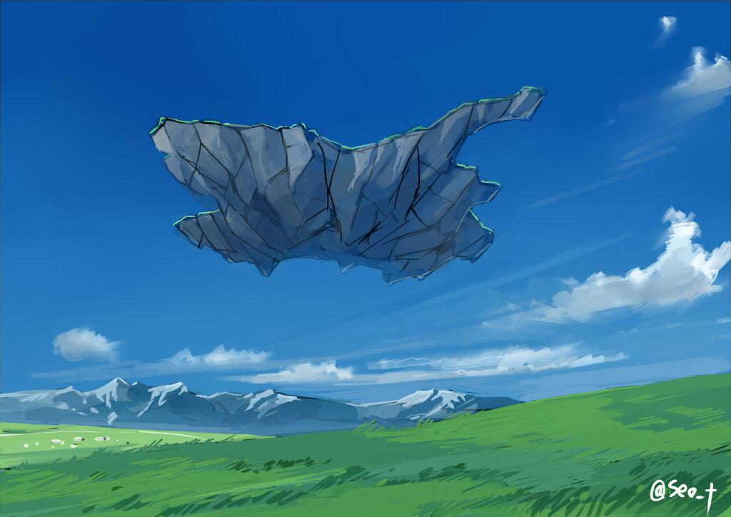 大地震に備え、空中へ離脱したはいいが、そのまま降りられなくなって、天空を漂う孤児となった「群馬県」を描きましたԅ( ˘ω˘ ԅ) http://t.co/GvaOXG4w8W