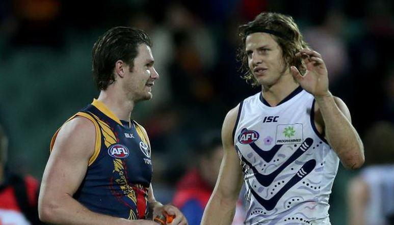 78 disposals and 346 #SuperCoach points between them. A colossal match-up.   (Pic: @Simon_Cross85) #AFLCrowsFreo http://t.co/CEb4cAFvxo