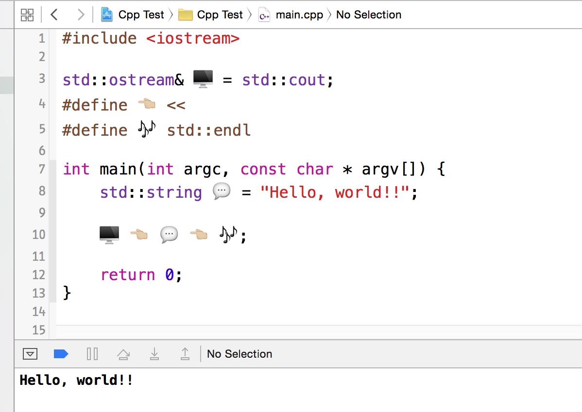 ところで、今のXcodeはSwiftだけじゃなくてC++でも絵文字識別子(一部)が許されているので、割と変態なコードが生成できる。勘弁して欲しい(ぉ http://t.co/C4F7wD9MNd