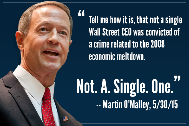 """Not a single Wall St CEO was convicted of a crime. Not. A. Single. One.""  #OMalley2016 #UniteBlue #p2 http://t.co/NMvJxvsS5z"